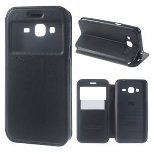 Peňaženkové PU kožené puzdro s okienkom pre Samsung Galaxy J3 (2016) - tmavomodré - 1