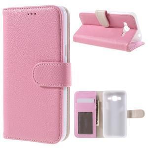 High PU kožené pouzdro na mobil Samsung Galaxy J3 (2016) - růžové - 1