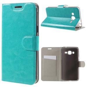 Horse PU kožené penženkové puzdro pre Samsung Galaxy J3 (2016) - modré - 1