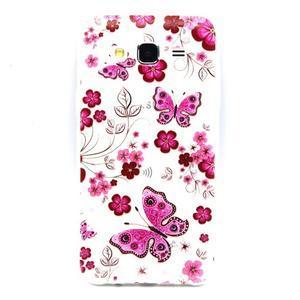 Trasnparent gelový obal na Samsung Galaxy J5 - motýlci a květiny - 1