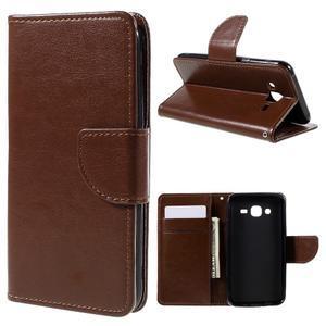 Peňaženkové puzdro pre mobil Samsung Galaxy J5 - hnedé - 1