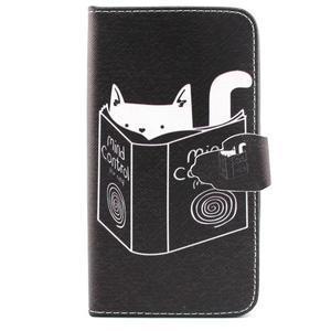 Knížkové puzdro pre mobil Samsung Galax J5 - mačka čte - 1