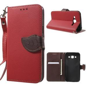 Leaf peněženkové pouzdro na Samsung Galaxy J5 - červené - 1