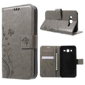 Butterfly PU kožené puzdro pre Samsung Galaxy J5 - šedé - 1
