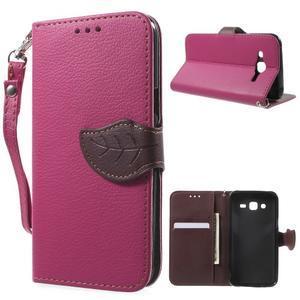 Leaf peňaženkové puzdro pre Samsung Galaxy J5 - rose - 1