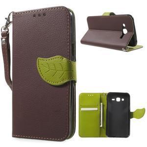 Leaf peňaženkové puzdro pre Samsung Galaxy J5 - hnedé - 1