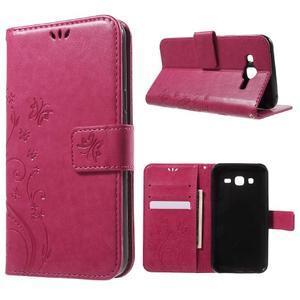 Butterfly PU kožené puzdro pre Samsung Galaxy J5 - rose - 1