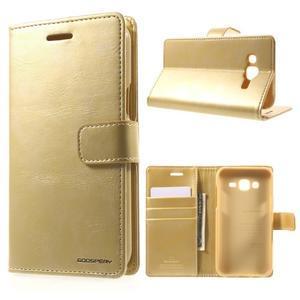 Mercury PU kožené puzdro pre mobil Samsung Galaxy J5 - zlaté - 1