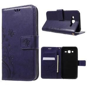 Butterfly PU kožené puzdro pre Samsung Galaxy J5 - fialové - 1