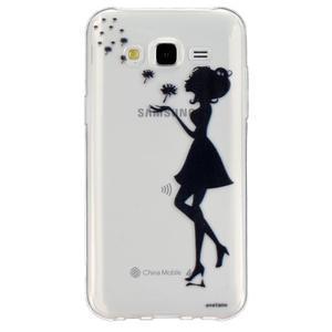 Trans gélový obal pre mobil Samsung Galaxy J5 - dievča a  púpava - 1