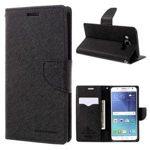 Diary PU kožené puzdro pre mobil Samsung Galaxy J5 (2016) - čierne - 1