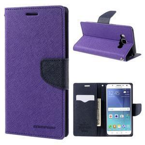 Diary PU kožené puzdro pre mobil Samsung Galaxy J5 (2016) - fialové - 1