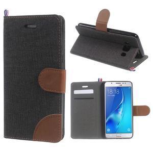 Denim peněženkové pouzdro na Samsung Galaxy J5 (2016) - černé - 1
