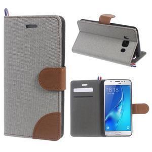 Denim peňaženkové puzdro pre Samsung Galaxy J5 (2016) - šedé - 1