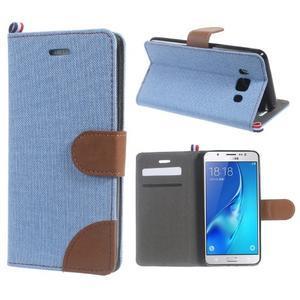 Denim peňaženkové puzdro pre Samsung Galaxy J5 (2016) - svetlomodré - 1
