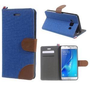 Denim peňaženkové puzdro pre Samsung Galaxy J5 (2016) - modré - 1