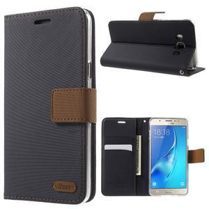 Gentle PU kožené peňaženkové puzdro pre Samsung Galaxy J5 (2016) - čierne - 1