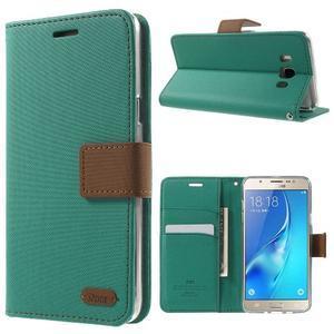 Gentle PU kožené peňaženkové puzdro pre Samsung Galaxy J5 (2016) - zelenomodré - 1