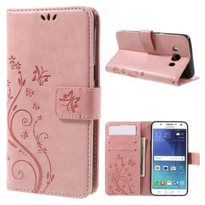 Butterfly PU kožené pouzdro na mobil Samsung Galaxy J5 (2016) - růžové - 1