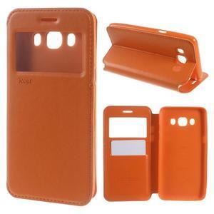 Royal puzdro s okienkom pre Samsung Galaxy J5 (2016) - oranžové - 1