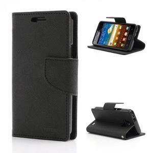 Diary PU kožené puzdro pre mobil Samsung Galaxy S2 - čierne - 1