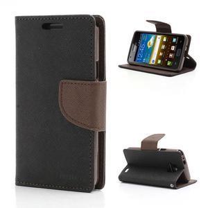 Diary PU kožené puzdro pre mobil Samsung Galaxy S2 - čierne/hnedé - 1