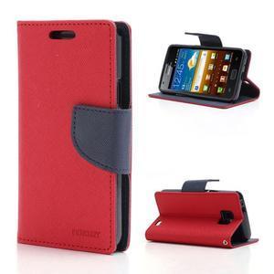 Diary PU kožené pouzdro na mobil Samsung Galaxy S2 - červené - 1