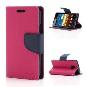 Diary PU kožené puzdro pre mobil Samsung Galaxy S2 - rose - 1