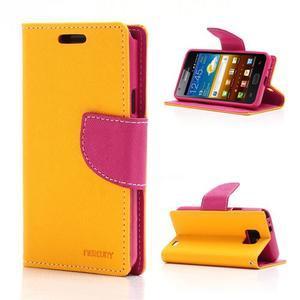 Diary PU kožené puzdro pre mobil Samsung Galaxy S2 - žlté - 1