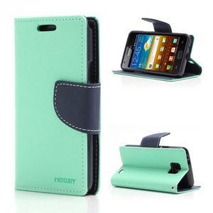 Diary PU kožené puzdro pre mobil Samsung Galaxy S2 - azúrové - 1