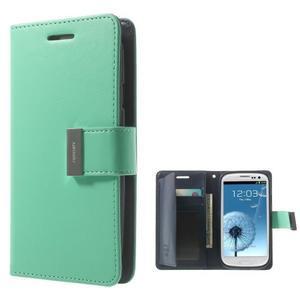 RichDiary PU kožené pouzdro na Samsung Galaxy S3 - azurové - 1