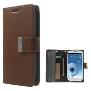 RichDiary PU kožené pouzdro na Samsung Galaxy S3 - hnědé - 1