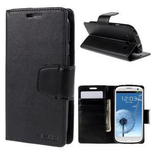Diary PU kožené puzdro pre mobil Samsung Galaxy S3 - čierne - 1