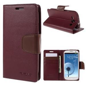 Diary PU kožené puzdro pre mobil Samsung Galaxy S3 - vínové - 1