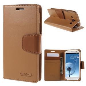Diary PU kožené puzdro pre mobil Samsung Galaxy S3 - hnedé - 1