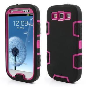 Odolné silikonové pouzdro na mobil Samsung Galaxy S3 - černé/rose - 1
