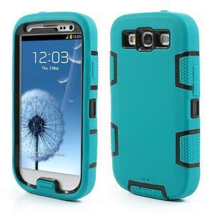 Odolné silikonové pouzdro na mobil Samsung Galaxy S3 - modré/černé - 1