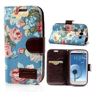 Kvetinové puzdro pre mobil Samsung Galaxy S3 - modré pozadie - 1