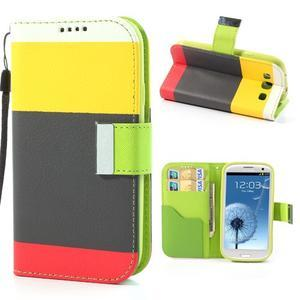 Tricolors PU kožené puzdro pre mobil Samsung Galaxy S3 - čierný stred II - 1