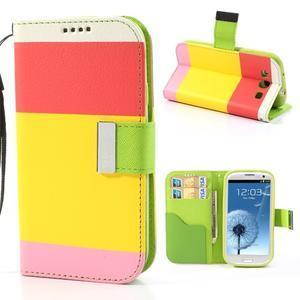 Tricolors PU kožené pouzdro na mobil Samsung Galaxy S3 - žlutý střed - 1