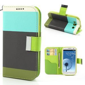 Tricolors PU kožené pouzdro na mobil Samsung Galaxy S3 - černý střed - 1