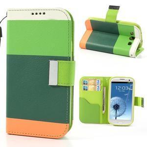 Tricolors PU kožené puzdro pre mobil Samsung Galaxy S3 - tmavozelený stred - 1