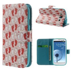 Knížečkové puzdro pre Samsung Galaxy S3 - tlapky - 1