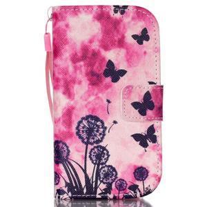 Knížkové PU kožené puzdro pre Samsung Galaxy S3 mini - motýle - 1