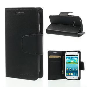 Diary PU kožené puzdro pre Samsung Galaxy S3 mini - čierne - 1