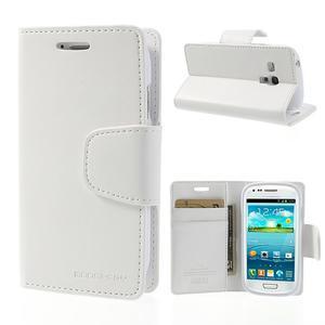 Diary PU kožené pouzdro na Samsung Galaxy S3 mini - bílé - 1