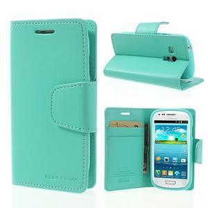 Diary PU kožené puzdro pre Samsung Galaxy S3 mini - azúrové - 1