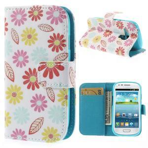 Knížkové puzdro pre mobil Samsung Galaxy S3 mini - kvety - 1