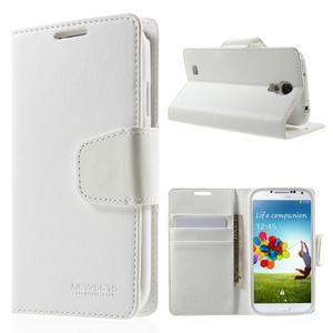 Diary PU kožené puzdro pre mobil Samsung Galaxy S4 - biele - 1