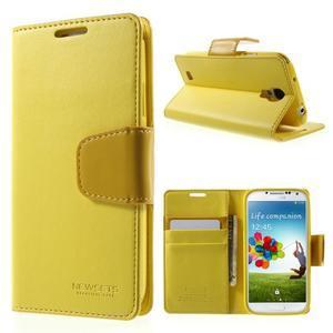 Diary PU kožené puzdro pre mobil Samsung Galaxy S4 - žlté - 1